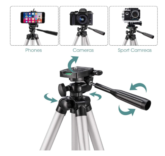 Mossto Adjustable Aluminium Alloy Tripod Stand Holder for Mobile Phones & Camera, 360 mm -1050 mm, 1/4 inch Screw + Mobile Holder Bracket