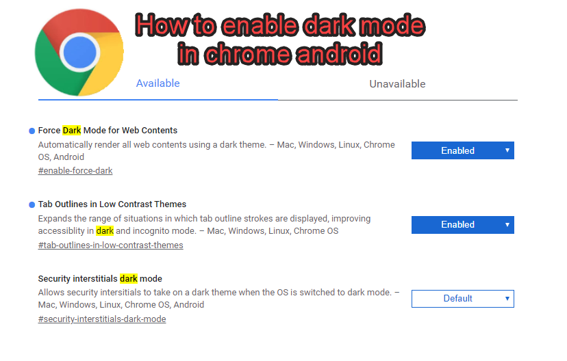 How to enable dark mode in chrome android